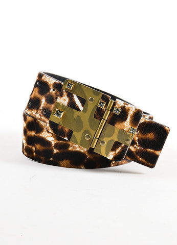 Black and Brown Lanvin Pony Hair Leopard Print Rhinestone Belt Frontview