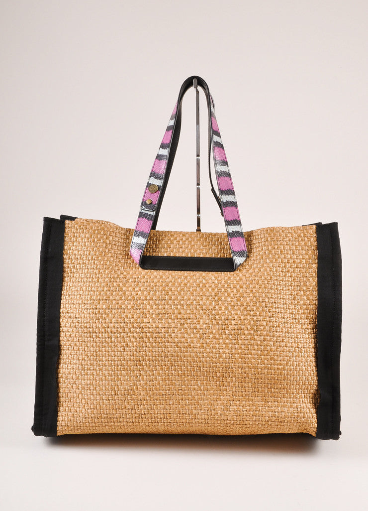 Lanvin Tan, Black, and Magenta Leather Straw Woven Tote Bag Frontview