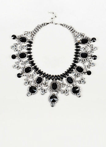 Lawrence Vrba Silver Toned and Black Resin Crystal Bib Statement Necklace Frontview