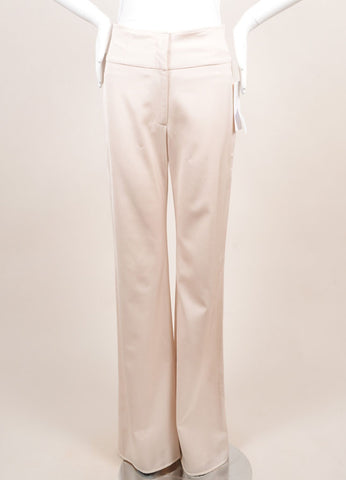Lela Rose New With Tags Blush Wool Blend High Waisted Wide Leg Trousers Frontview