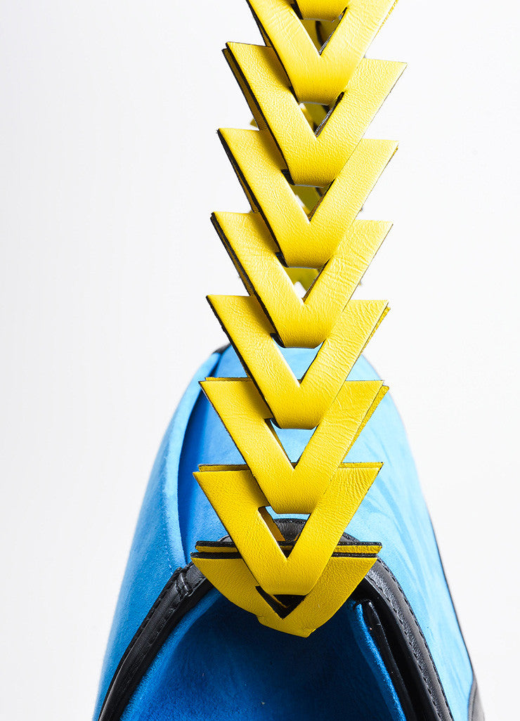 "Blue, Black, and Yellow Loewe Suede Leather Flap Cut Out ""V"" Shoulder Bag Detail 2"