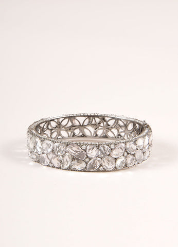 Lorraine Schwartz Diamond and White Sapphire Encrusted Hinged Bracelet Frontview