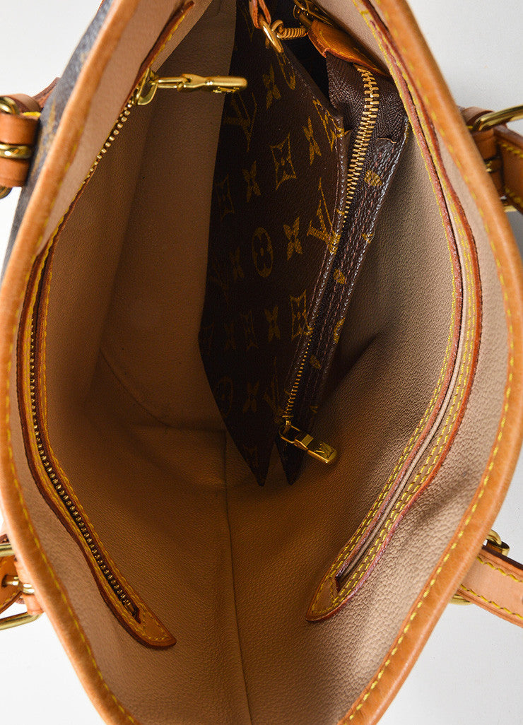 "Brown Louis Vuitton Coated Canvas Monogram ""Petit Bucket"" Tote with Pochette Interior"