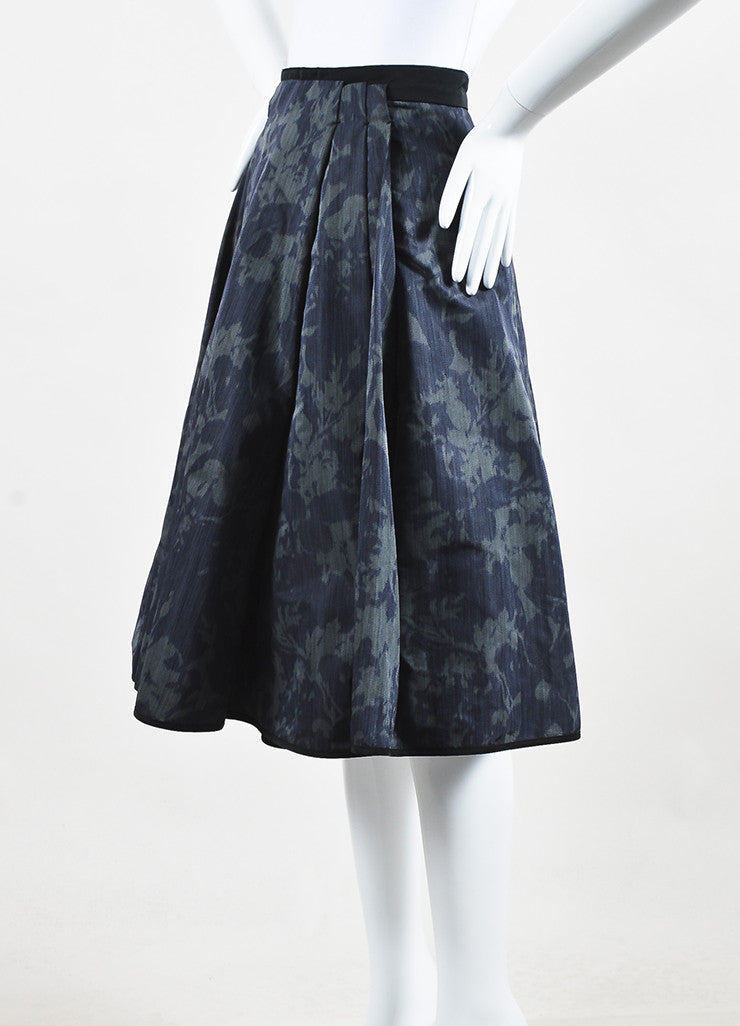 Louis Vuitton Dark Green Black Silk Print Full A-Line Skirt Sideview