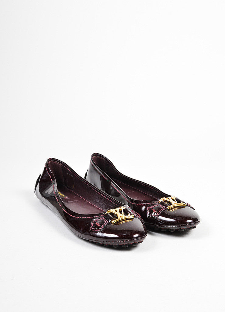 "Eggplant Purple Louis Vuitton Leather Driving ""Oxford Ballerina"" Flats Frontview"
