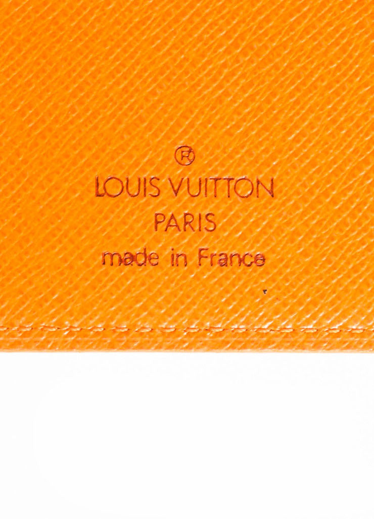 Louis Vuitton Orange Epi Leather Card Holder Wallet Brand