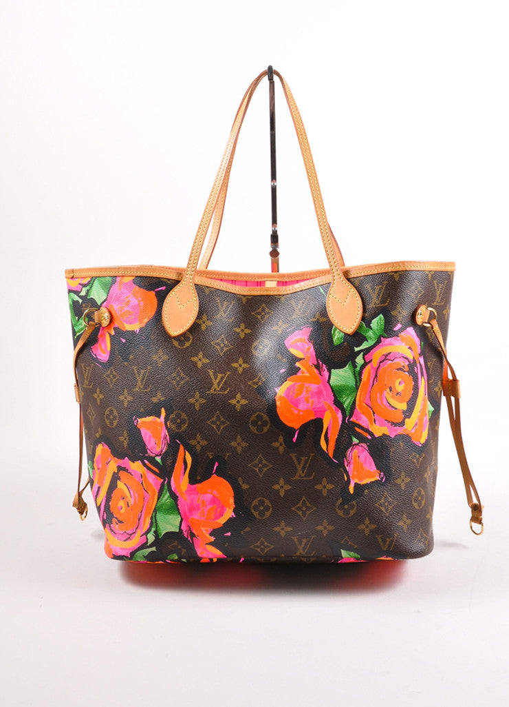 "Louis Vuitton x Stephen Sprouse Brown and Pink Monogram Canvas Roses ""Neverfull"" Tote Bag Frontview"
