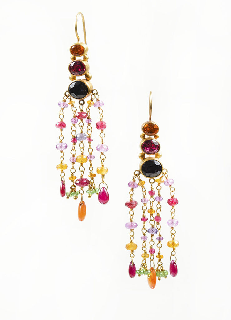 22K and 18K Yellow Gold and Multicolor Gemstone Mallary Marks Chandelier Earrings Frontview