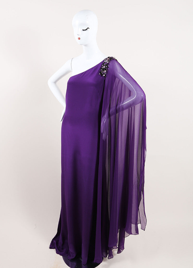 Marchesa Notte Purple Silk Beaded One Shoulder Draped Sleeve Gown Sideview