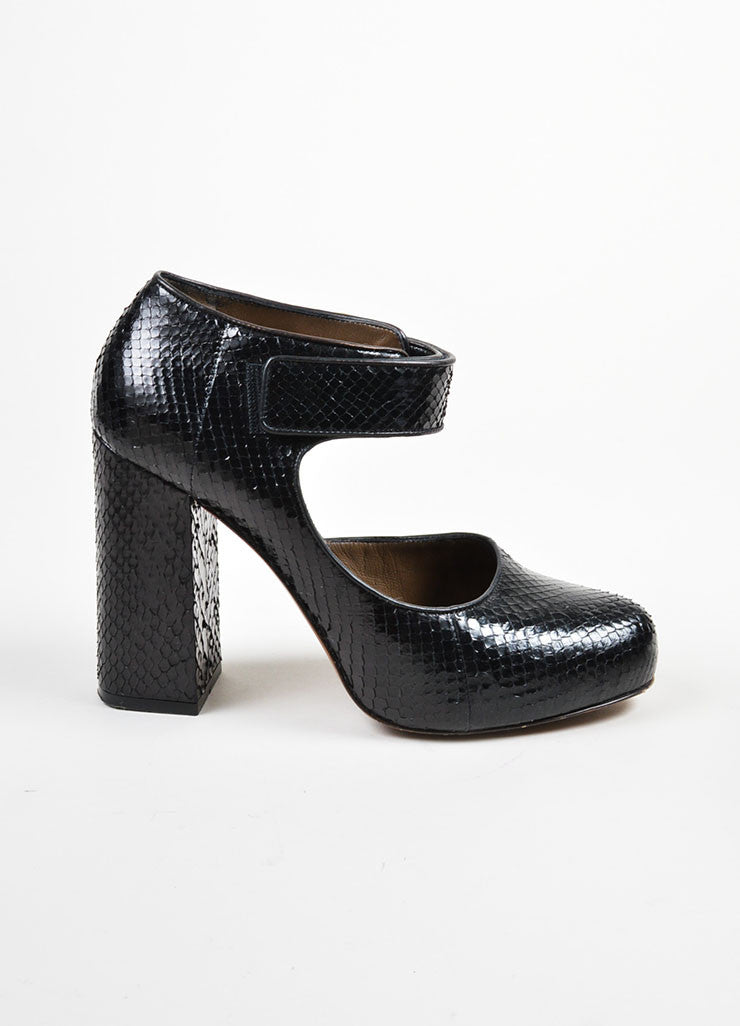 Black Marni Python Leather Mary Jane Chunky Heels Sideview