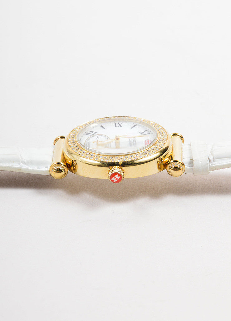 "Michele Gold Toned and Diamond White Alligator Leather Band ""Caber"" Watch Detail 2"