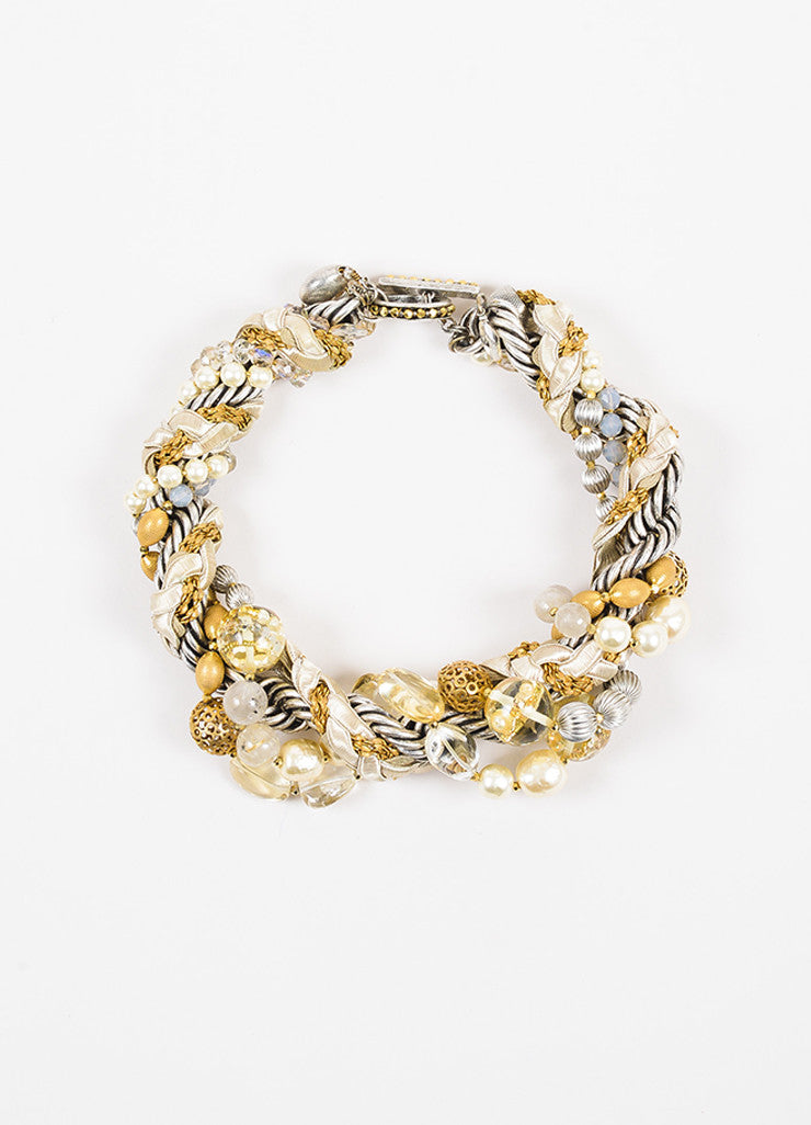 Miriam Haskell Silver and Gold Toned Cord Faux Pearl Crystal Bead Statement Necklace Frontview