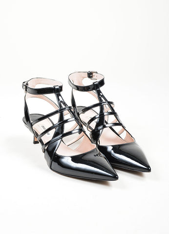 Black Miu Miu Patent Leather Caged Pointed Toe Kitten Heels Frontview