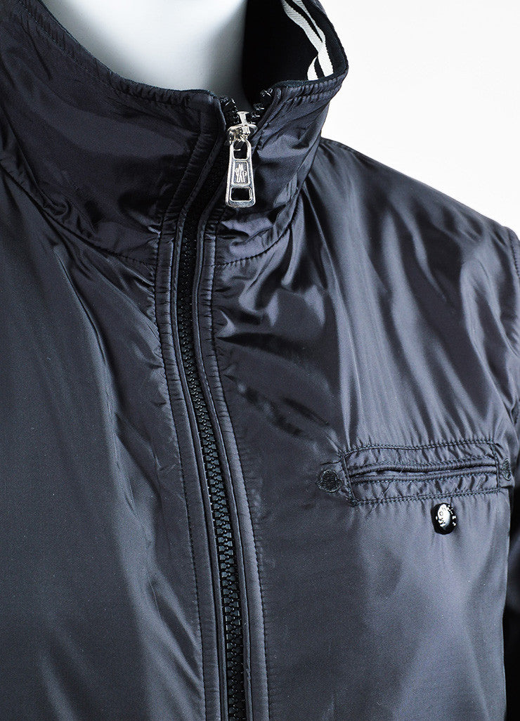 Moncler Black and Grey Knit Nylon Zip Up Windbreaker Jacket Detail