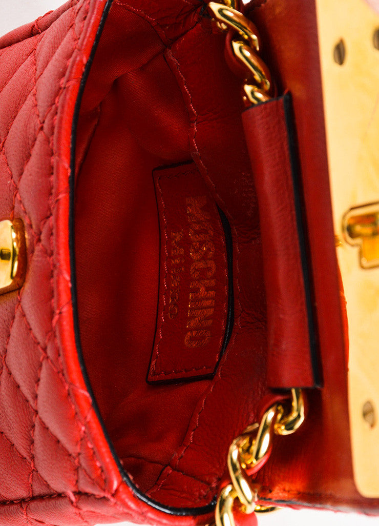 Moschino Red and Gold Toned Leather Quilted Mini Crossbody Belt Bag Interior