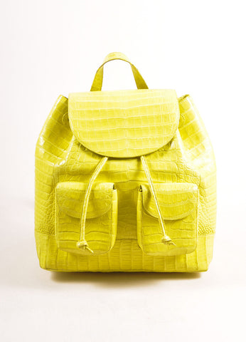Nancy Gonzalez Neon Yellow Crocodile Leather Drawstring Backpack Frontview