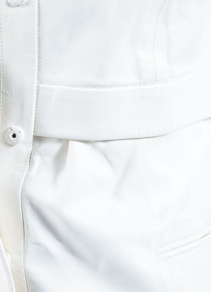 White Narciso Rodriguez Leather Collarless Jacket Detail