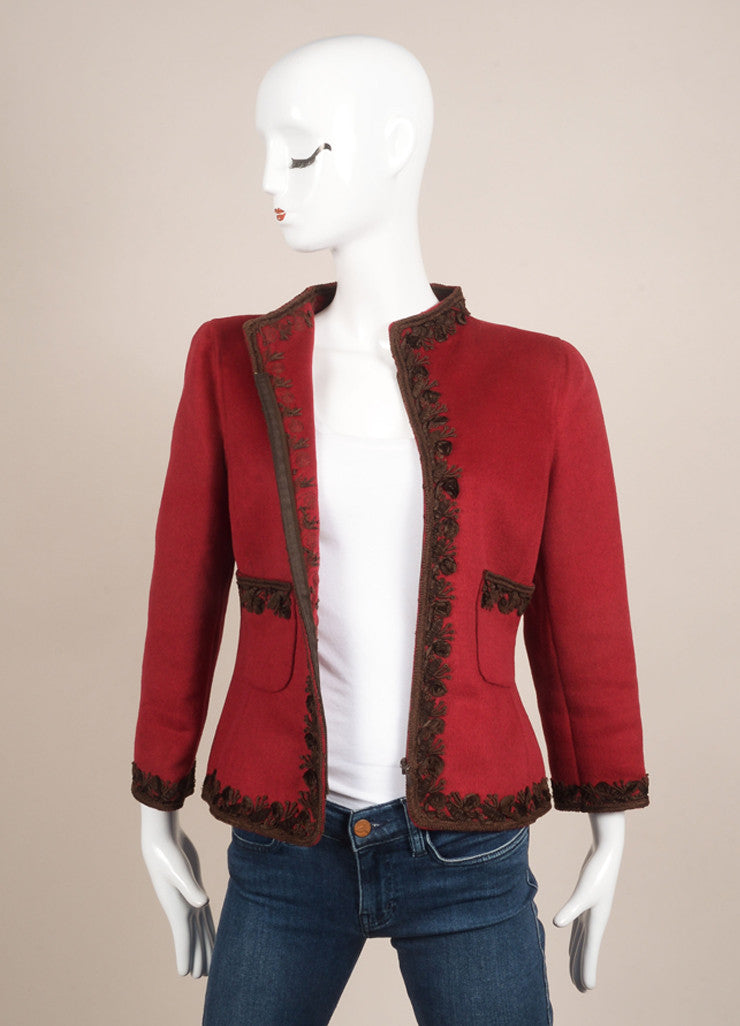 Oscar de la Renta Red and Brown Wool, Angora, and Cashmere Embroidered Zip Jacket Frontview