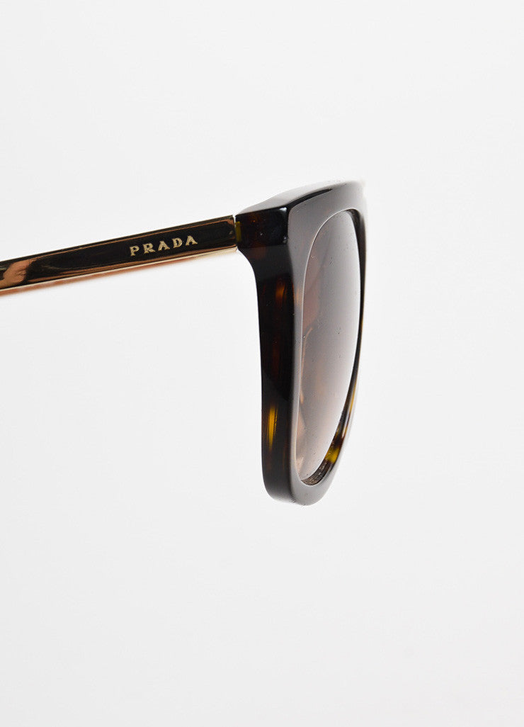 Prada Brown Tortoise Shell Gold Toned Square Two Bar Sunglasses Detail