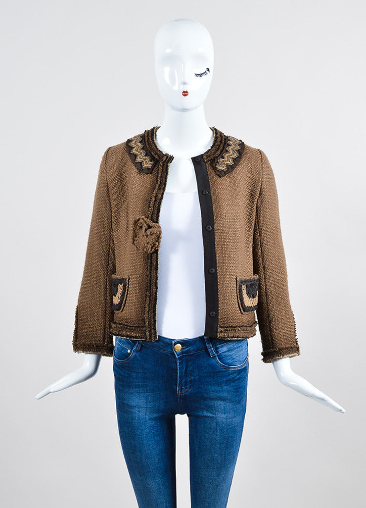 Prada Brown Tweed Frayed Edge Embroidered Pocket Jacket Frontview