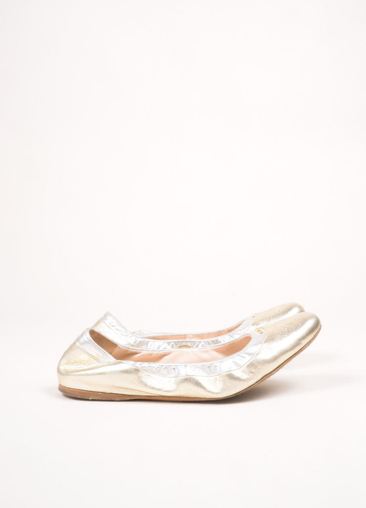 Prada Gold Leather Elastic Flats Sideview