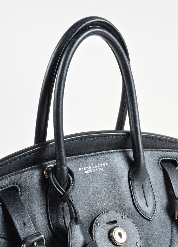 "Ralph Lauren Black and White Leather Color Block ""Soft Ricky"" Bag Detail 2"