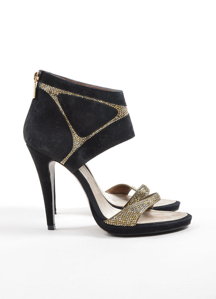 Rene Caovilla Black and Taupe Suede Rhinestone Glitter Sandal Heels Sideview
