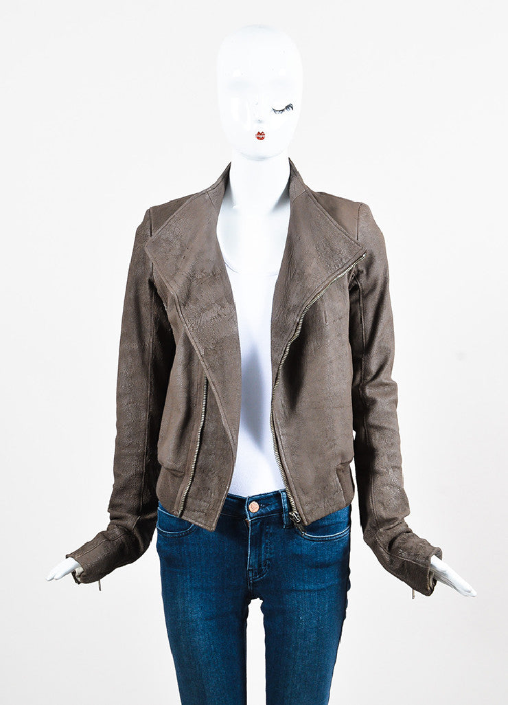 "Rick Owens ""Dust"" Dark Taupe Lambskin and Wool Asymmetrically Zipped Jacket Frontview"