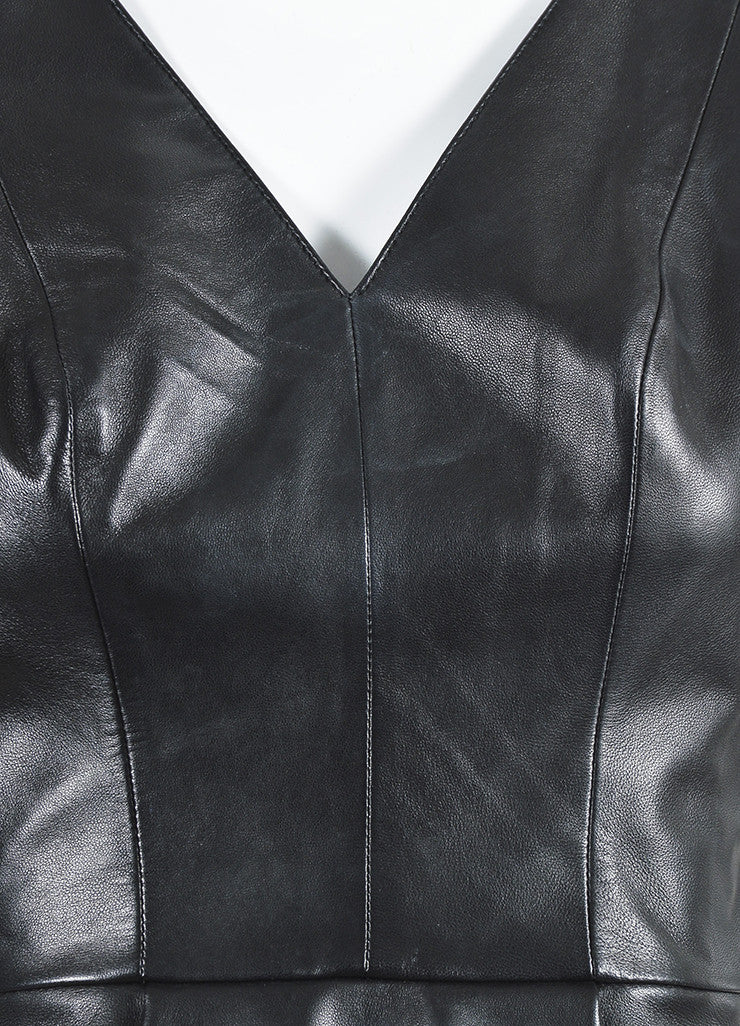 å´?ÌÜRobert Rodriguez Black Leather Sheer Back V-Neck Peplum Sleeveless Top Detail