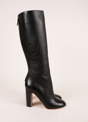 Rochas New In Box Black Pebbled Leather Knee High Stacked Heel Boots Sideview