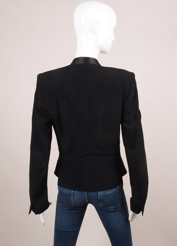 Roland Mouret New With Tags Black Satin Crepe Contrast Peplum Blazer Jacket Backview