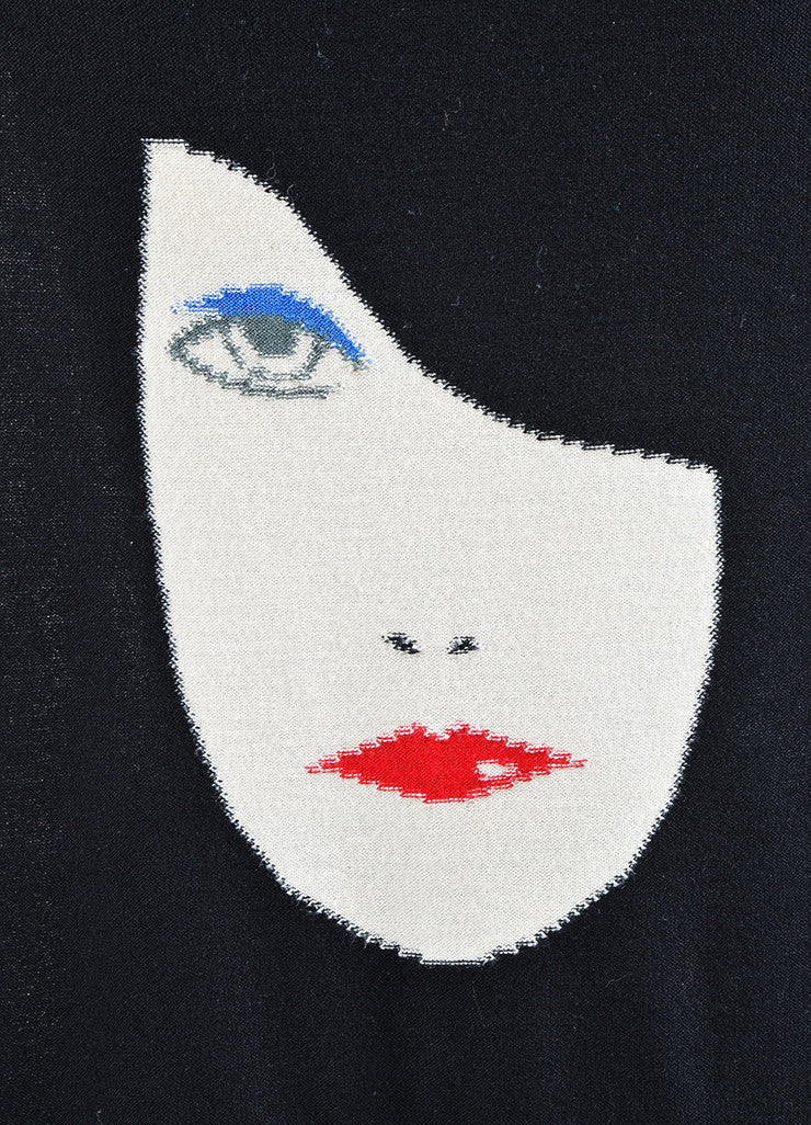 Black Sonia Rykiel Sweater Knit Tie Back Portrait Graphic Attached Scarf Detail