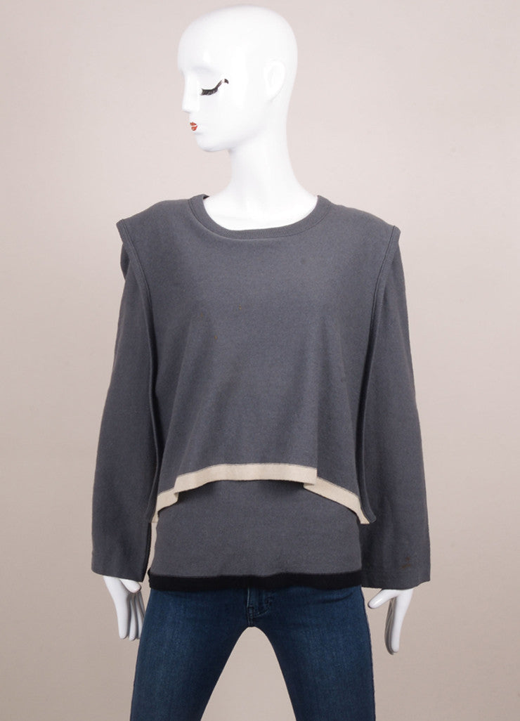 Sonia Rykiel Grey, Black, and White Wool Cape Belted Sweater Frontview