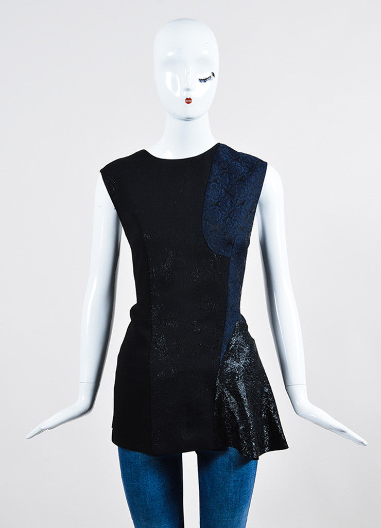 Navy and Black Stella McCartney Mixed Media Paneled Sleeveless Top Frontview
