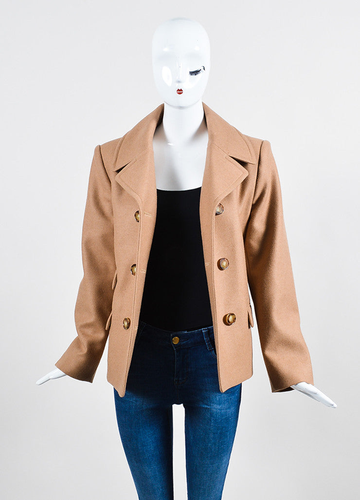 Tan Stella McCartney Camel and Wool Double Breasted Short Peacoat Frontview