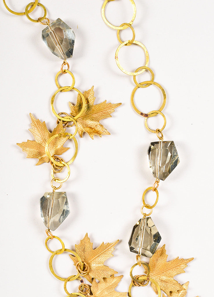 Susanna Galanis Vintage Brass Smokey Crystal Leaf Charm Necklace Detail 2