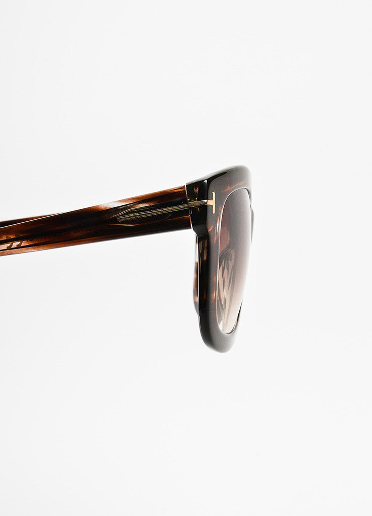 "Brown Tom Ford Striped Frame Ombre Lens Square ""Christophe"" Sunglasses Detail"