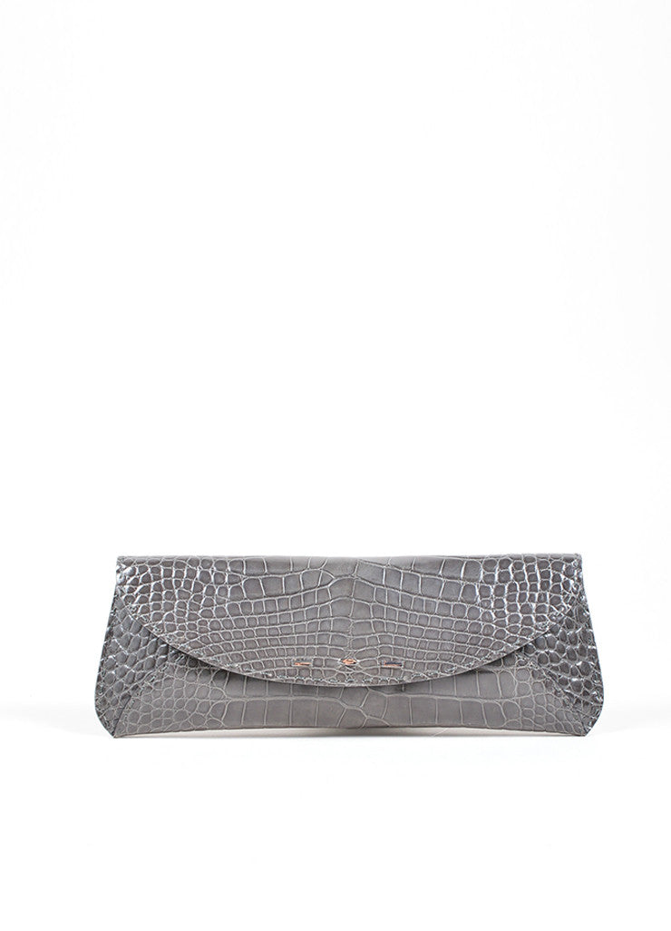 "VBH Slate Gray Crocodile Skin Leather ""Martini"" Clutch Handbag Front"