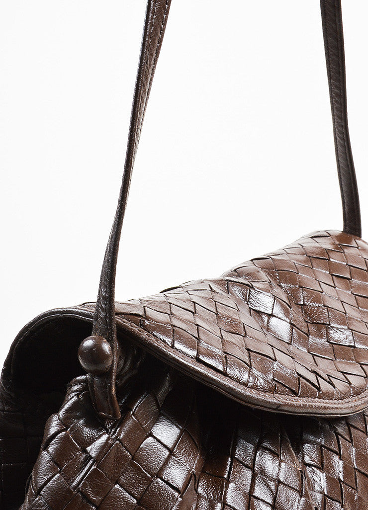 Bottega Veneta Brown Woven Leather Shoulder Bag Detail 2