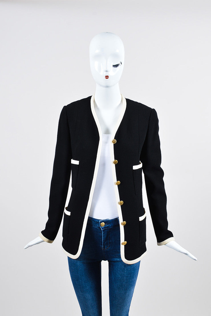 Black and Cream Chanel Wool Gold Toned Shamrock Button Jacket Frontview