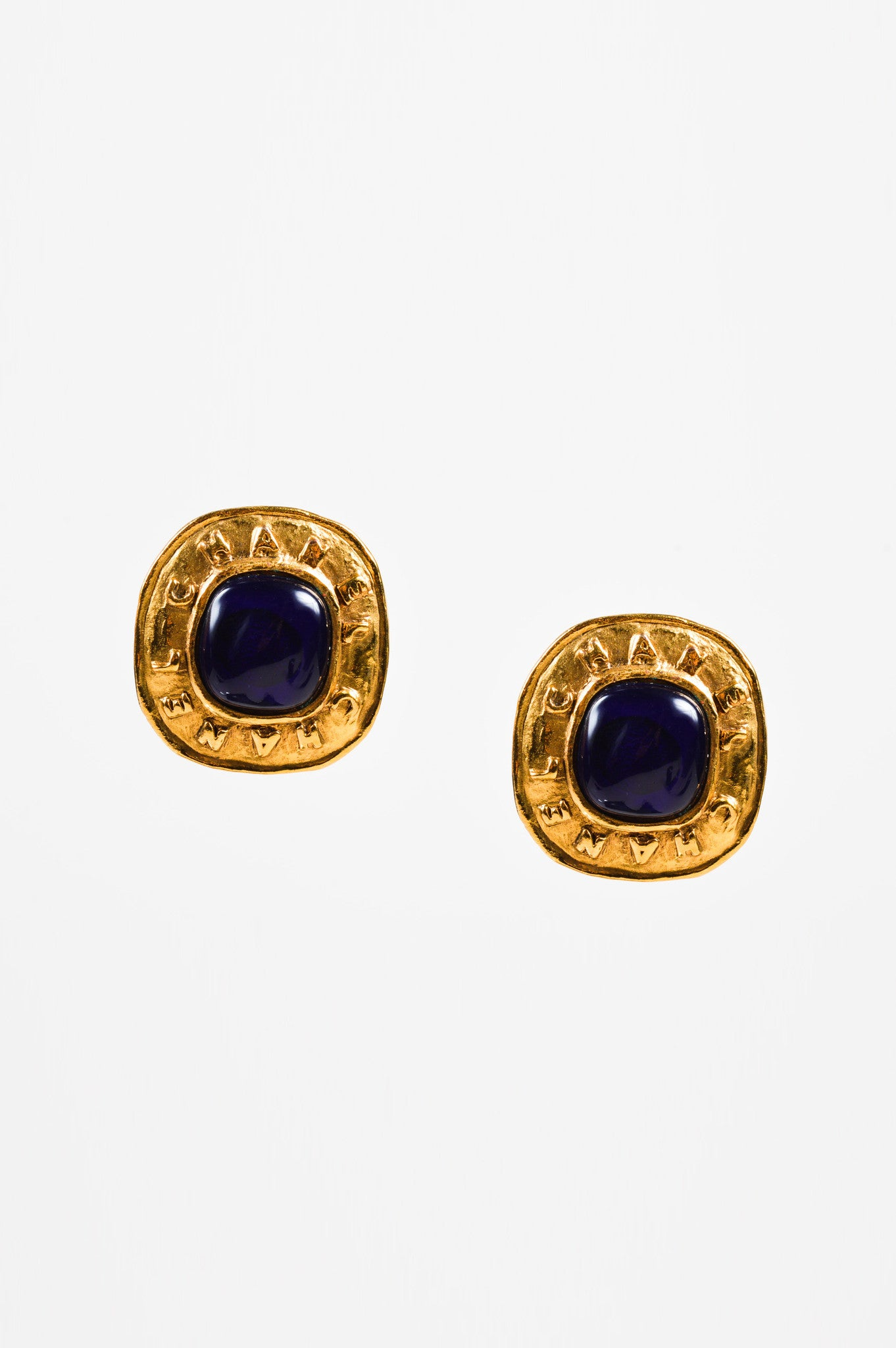 Vintage Chanel Gold Tone Blue Stone Embellished Clip On Cocktail Earrings  Front