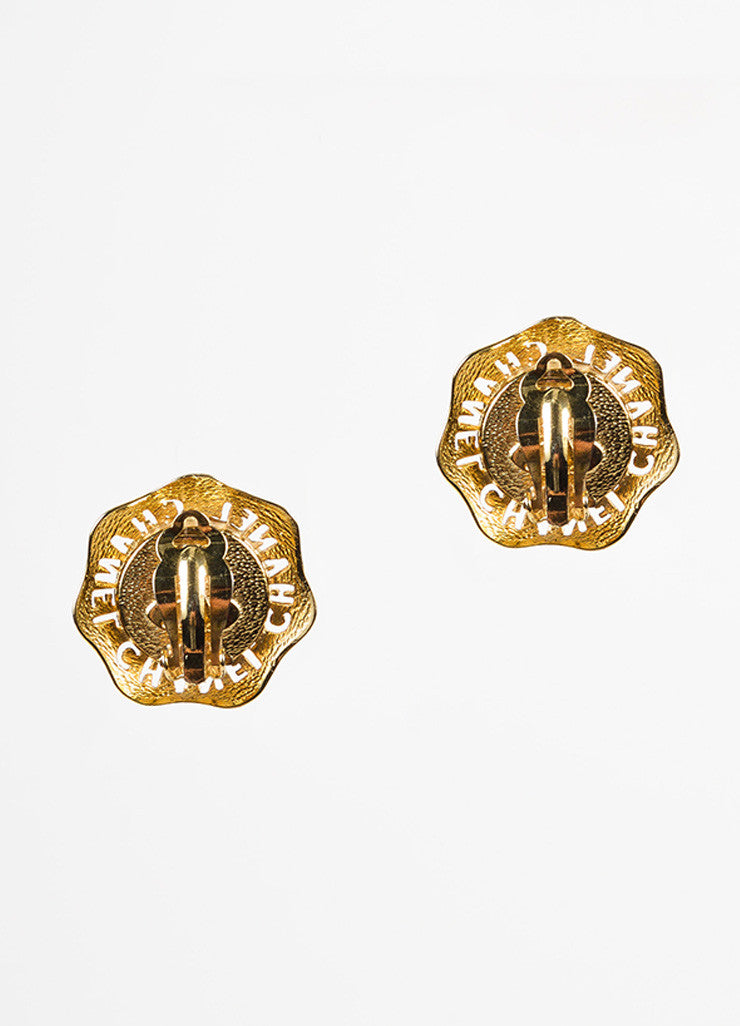 Chanel Gold Toned and Faux Pearl Cut Out Wavy Button Clip On Earrings Backview