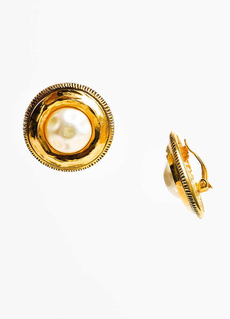 Chanel Gold Toned and Faux Pearl Round Clip On Earrings Sideview