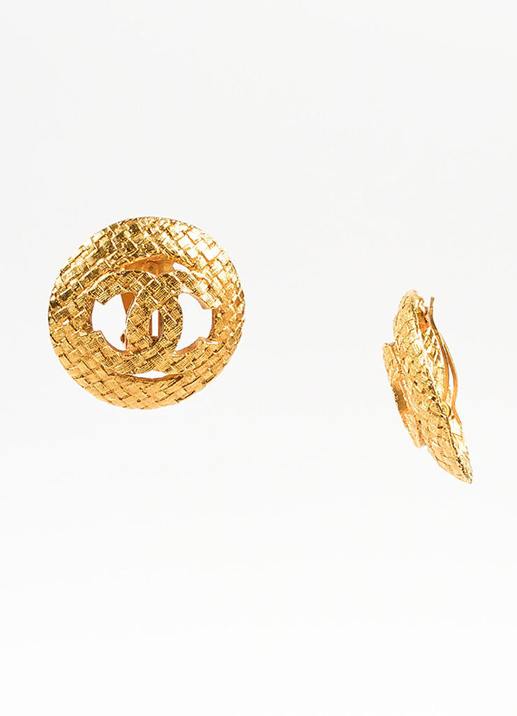 Chanel Gold Toned Textured Basketweave 'CC' Logo Clip On Earrings Sideview
