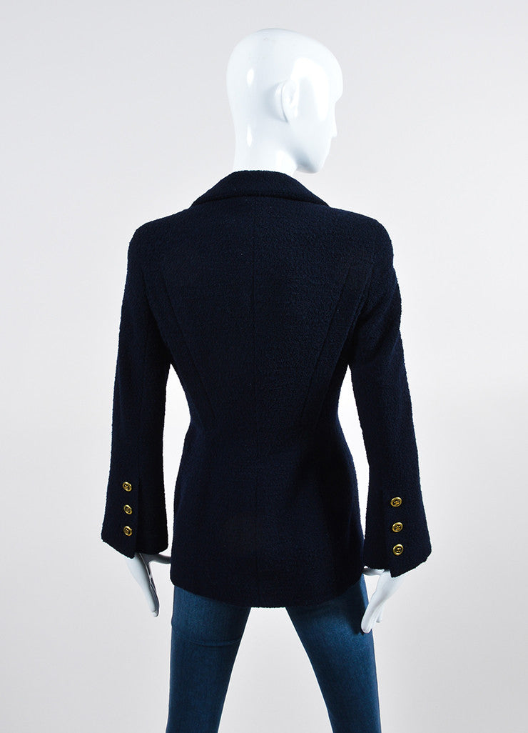 Navy Blue Chanel Wool Boucle 'CC' Button Blazer Backview