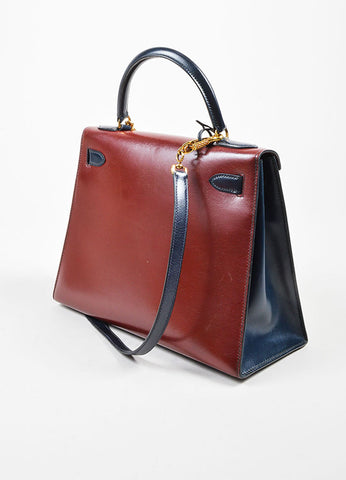 Green, Maroon and Navy Hermes Leather 28cm Kelly Handbag Back