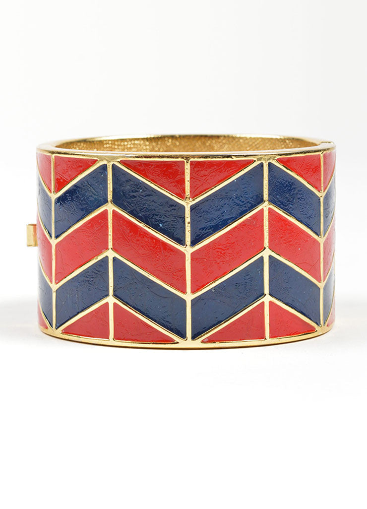 Gold Toned, Red, and Navy Lanvin Enamel Chevron Hinged Wide Bangle Bracelet Frontview 2