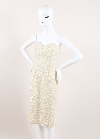 Victor Costa Cream Embroidered Ribbon Embellished Strapless Dress Sideview