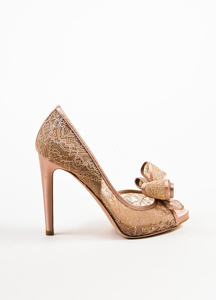 Blush Valentino Satin and Lace Bow Peep Toe d'Orsay Pumps Side