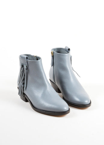 Valentino Grey Pebbled Leather Tassel Ankle Booties Frontview